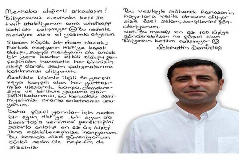 Demirtaş'tan mektup: Bu mesajı en az 100 kişiye gönderebilsen...