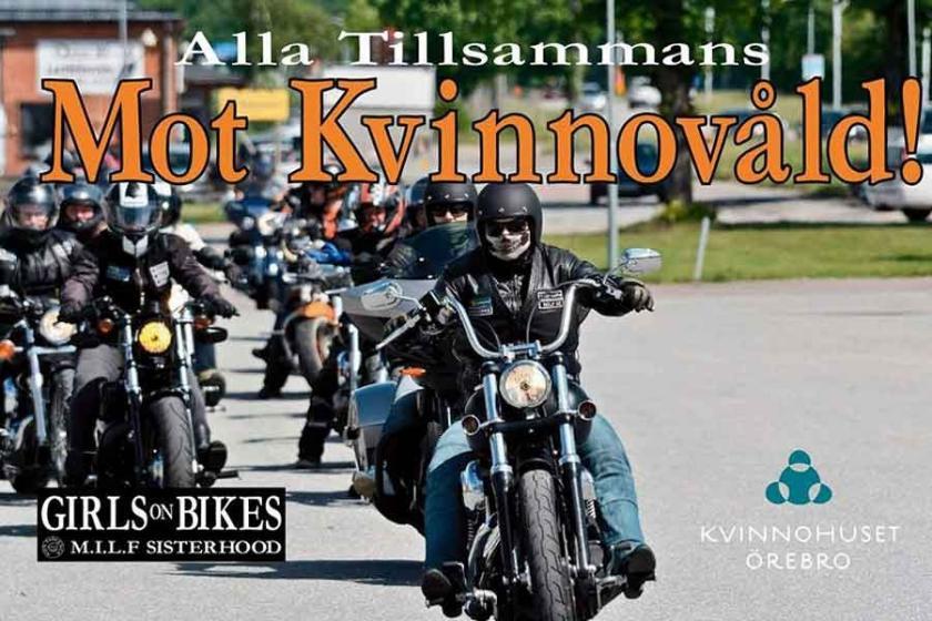 İsveç'te kadına şiddete karşı motosiklet korteji