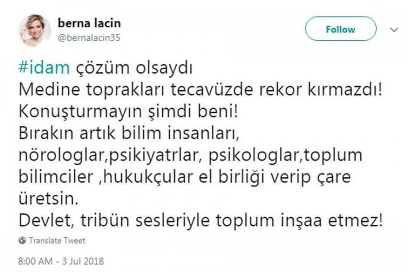 Berna Laçin'in idam karşıtı sosyal medya paylaşımına soruşturma