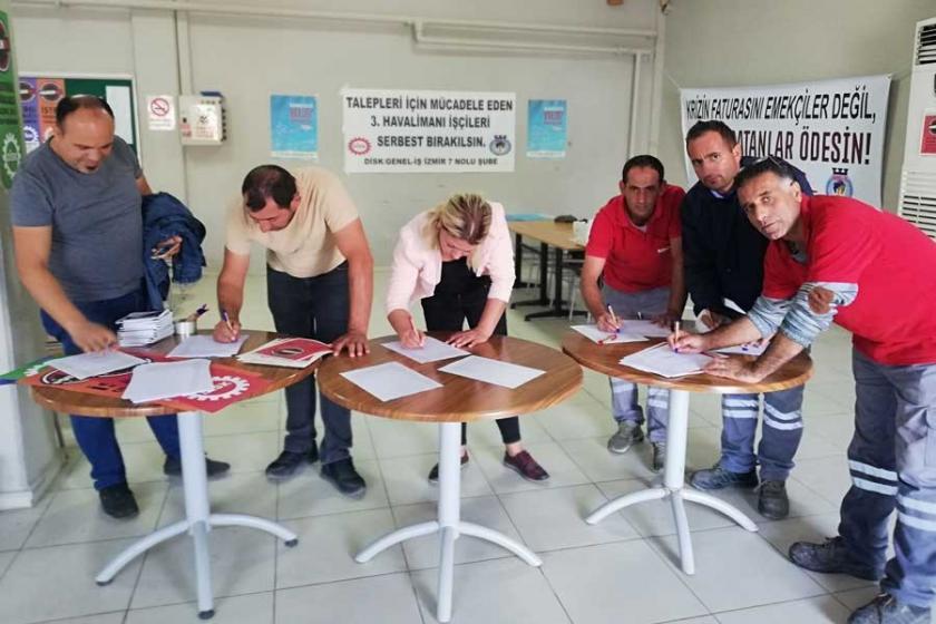 İzmir'de Genel-İş üyelerinden havalimanıişçileri için imza kampanyası