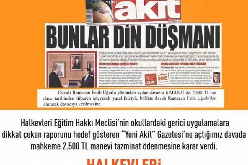Yeni Akit Gazetesi, Halkevleri'ne tazminat ödeyecek