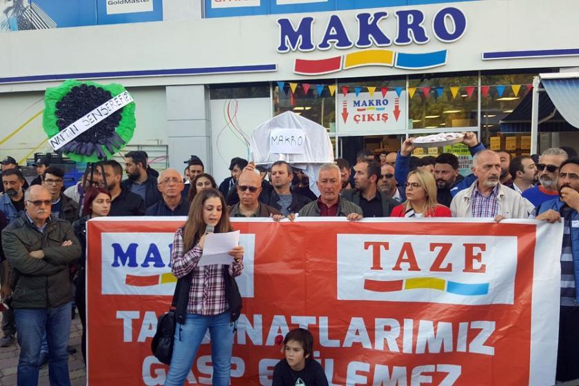 Samsun'da işten atılan Makro işçileri haklarını istiyor