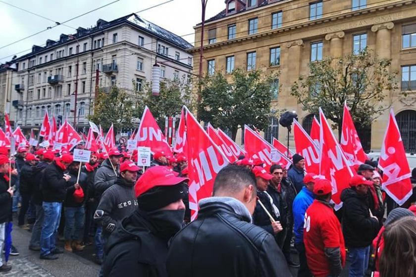 İsviçre'de inşaat işçileri mücadelelerinde kararlı