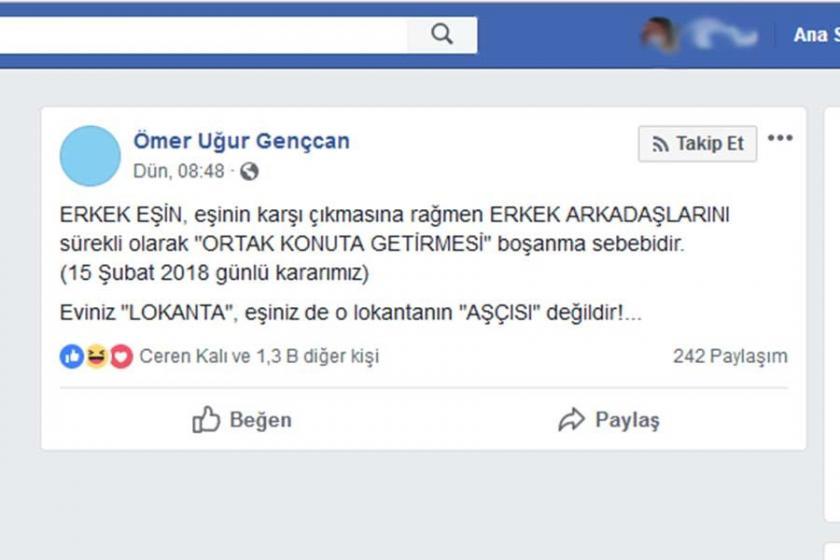 Yargıtay Daire Başkanı Gençcan: Eviniz lokanta, eşiniz de aşçı değil