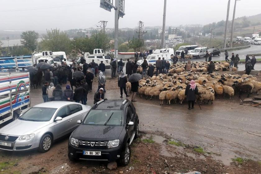 Hayvancılık yapan Diyarbakırlılar yol kapattı