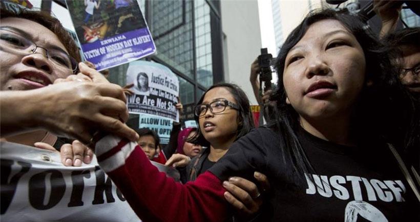 Ev emekçisine işkenceye protesto
