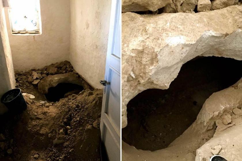 Evi kiralayıp kaçak kazı yaptılar, kaya mezarı tahrip ettiler