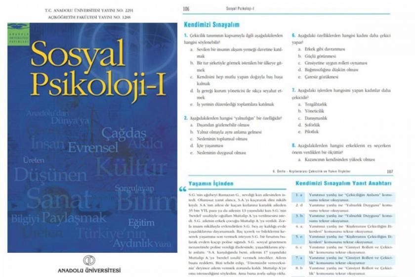 Açıköğretim Sosyal Psikoloji kitabında cinsiyetçi ifadeler yer aldı