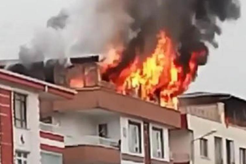 Ankara Etimesgut'ta bir apartmanda yangın çıktı