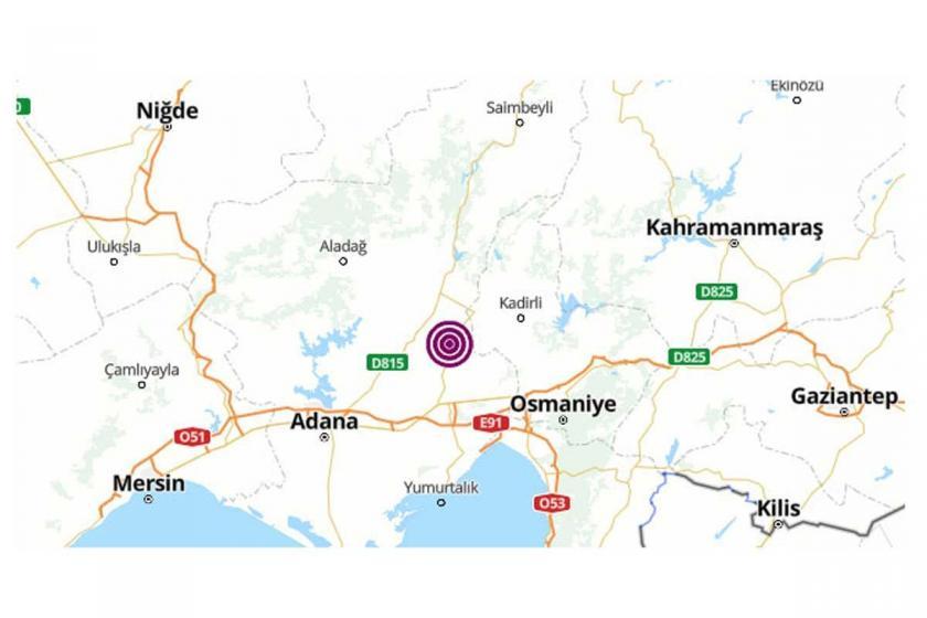 Adana'da 4.3 büyüklüğünde deprem