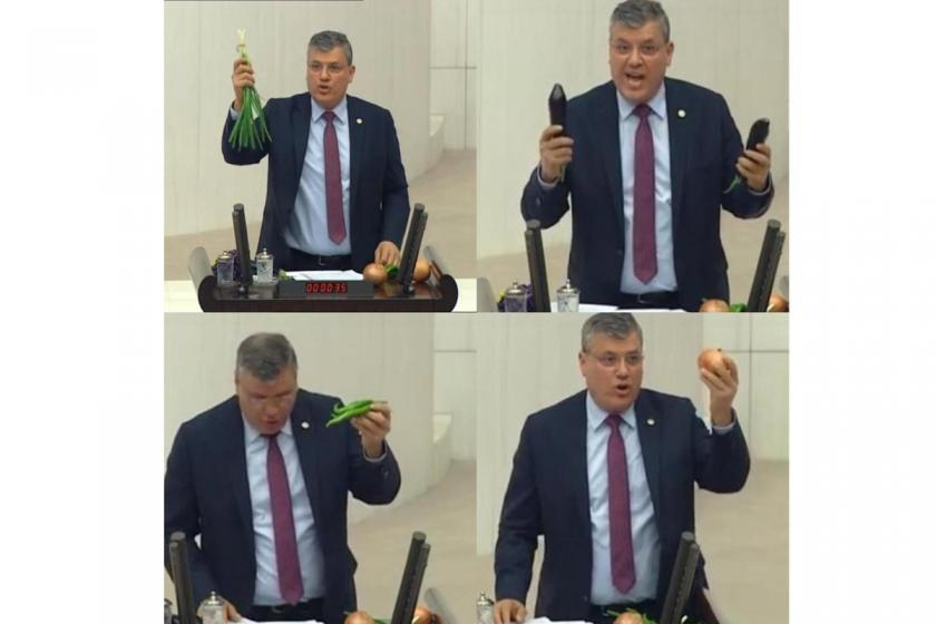 CHP'li Barut, sebzelerle Meclis kürsüsünde: Üretici kazanamıyor