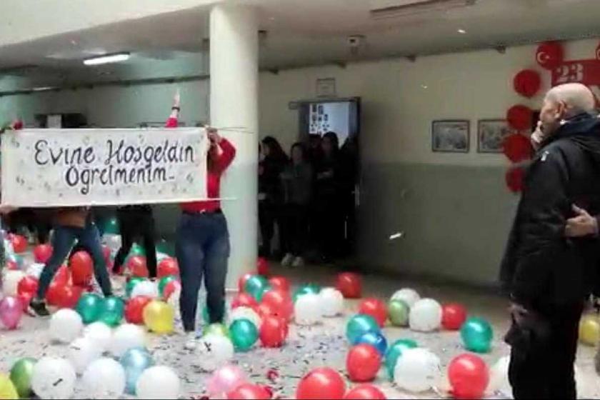 Çorlu'da kanseri yenen öğretmene okulunda sürpriz karşılama