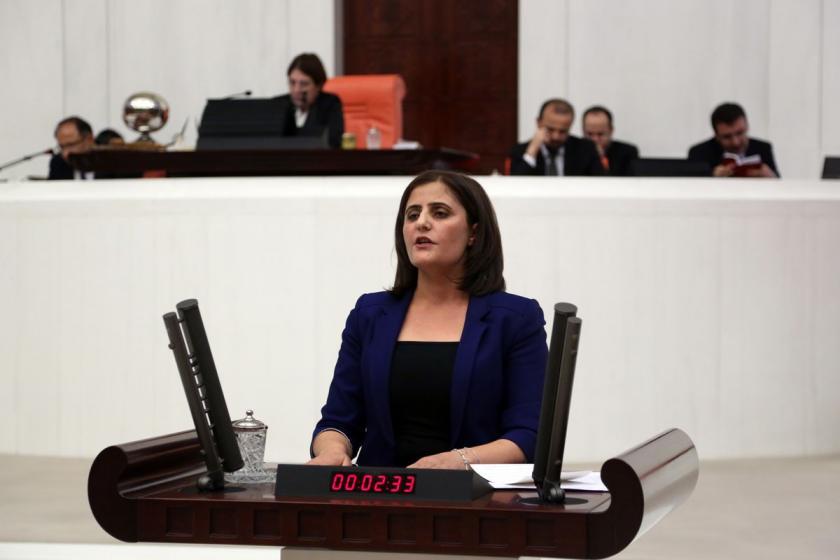 HDP Ağrı Milletvekili Dirayet Dilan Taşdemir Meclis kürsüsünde konuşma yaparken