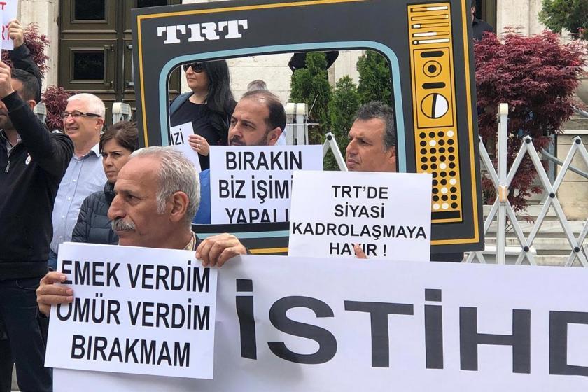 TRT çalışanları TRT'nin 169 kişilik tasfiye listesini protesto etti