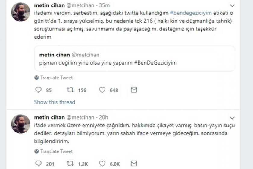 Rabia Naz'ın babasının sesi olan Metin Cihan'a Gezi soruşturması