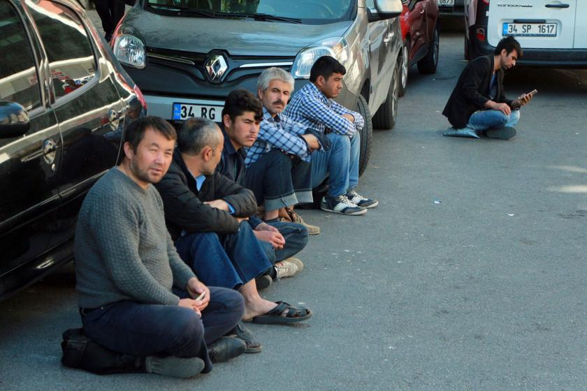 Çağlayan'da mülteci işçi pazarı