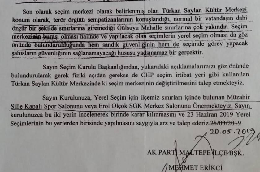 AKP, defalarca bastığı Maltepe Seçim Merkezini 'güvenli değil' diye taşıttı