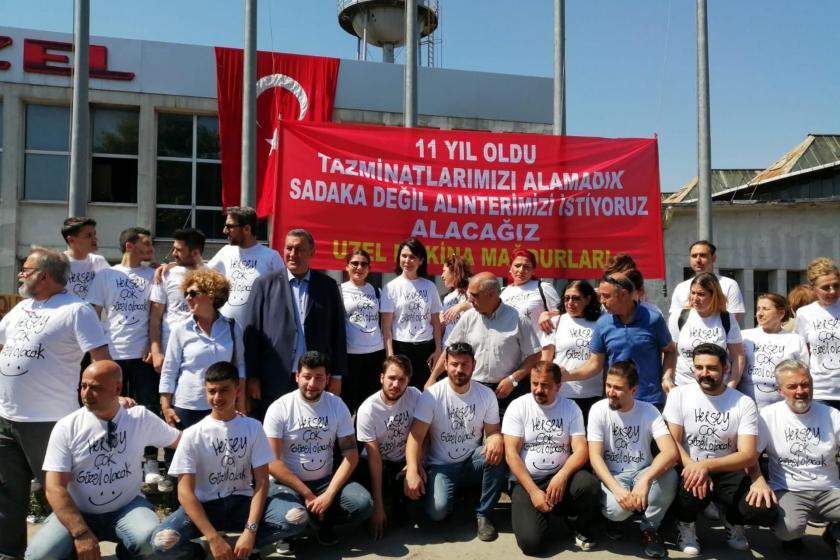 CHP, tazminat hakları için direnen Uzel Makina işçilerini ziyaret etti