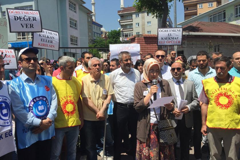 Bahçelievler'de öğretmenlere yönelik şiddet protesto edildi