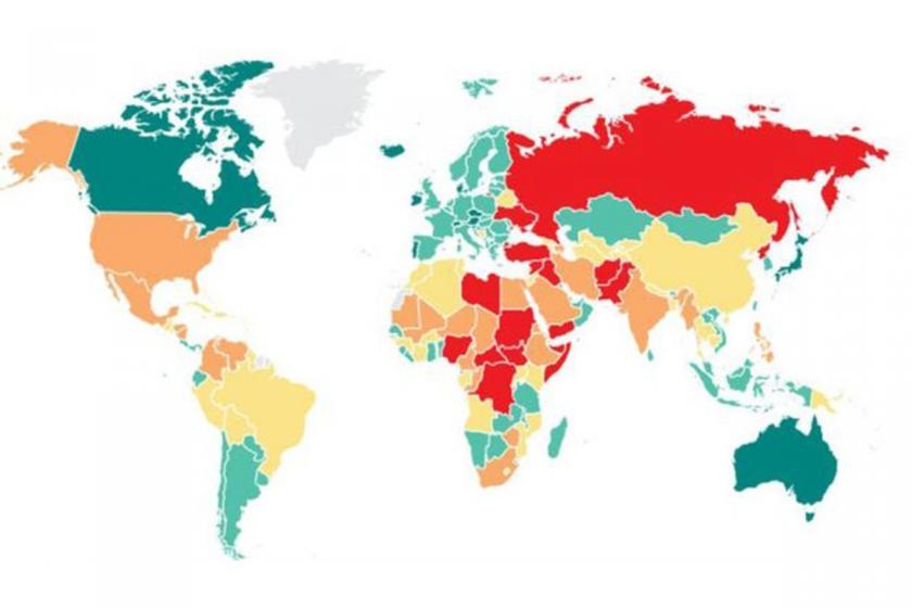 Küresel Barış Endeksi'nde Türkiye 163 ülke arasında 152. sırada