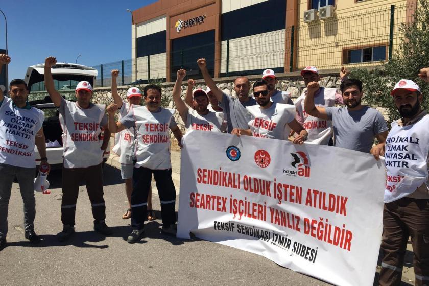 TEKSİF İzmir Şubesi, Saertex Tekstil'i protesto etti