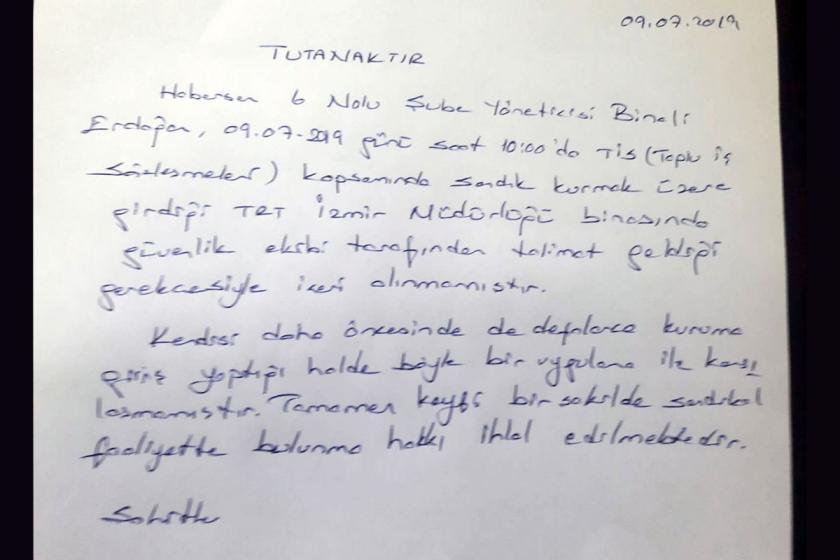 TRT'de sendikal faaliyete engel: Şube yöneticisi kuruma alınmadı