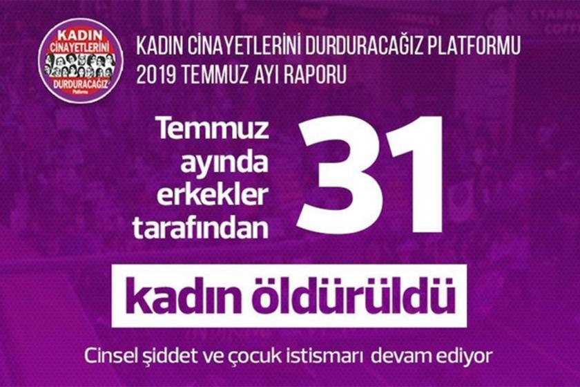 Temmuz ayında 31 kadın erkekler tarafından öldürüldü