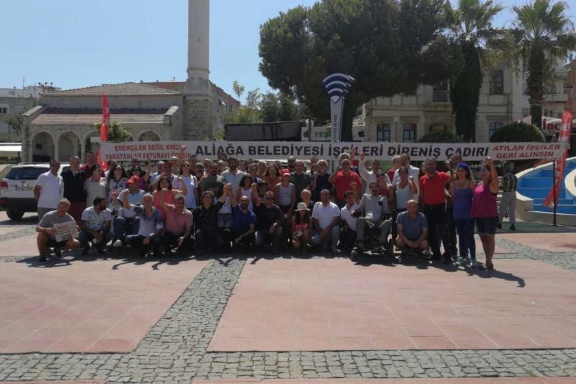 İşten çıkarılan Aliağa Belediyesi işçileri bayramı direniş çadırında karşıladı