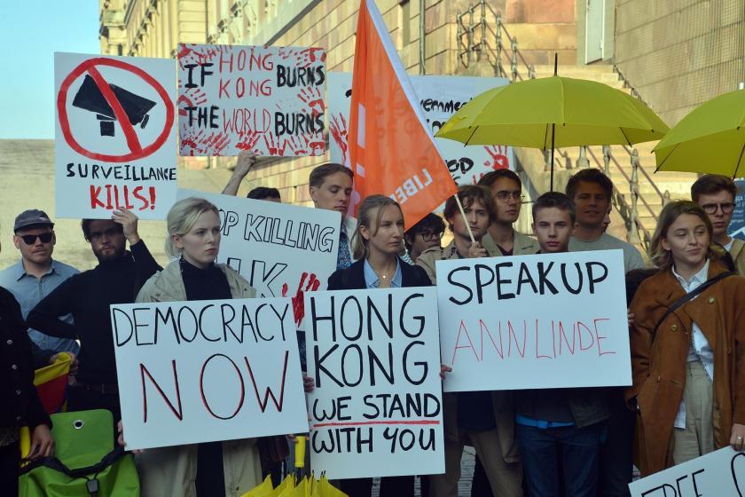 Stockholm'de Hong Kong'la dayanışma eylemi yapıldı