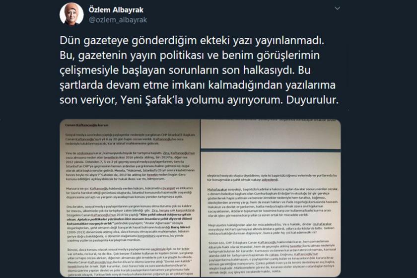Kaftancıoğlu yazısı yayımlanmayan Yeni Şafak yazarı Özlem Albayrak istifa etti