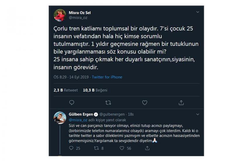 Çorlu tren faciasında oğlunu kaybeden Mısra Öz Sel'den Gülben Ergen'e tepki