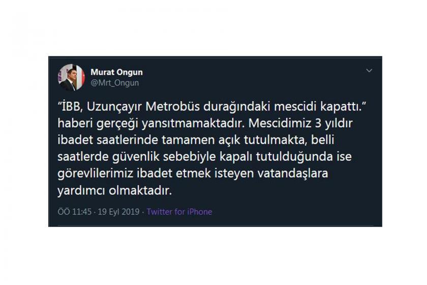 İBB, Uzunçayır metrobüs durağındaki mescidin kapatıldığı iddialarını yalanladı
