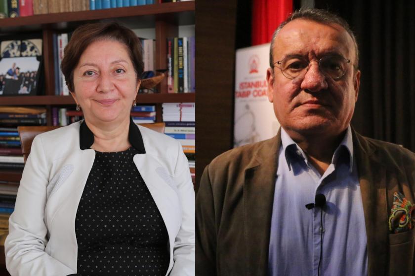 İstanbul Tabip Odası Başkanı Pınar Saip ve Prof. Dr. Uğur Emek'in yan yana fotoğrafı