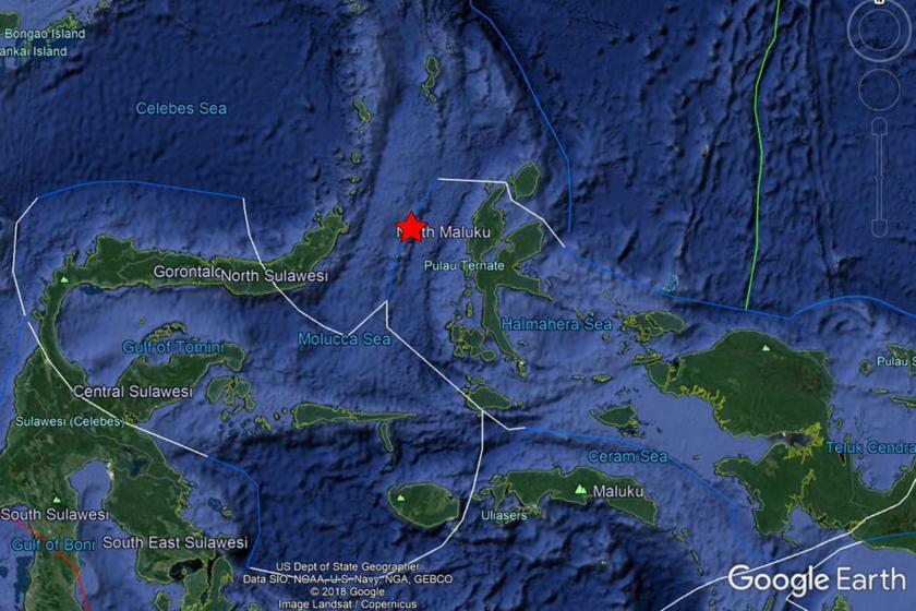 Endonezya'da meydana gelen 7,1 büyüklüğündeki depremin merkezinin haritası.