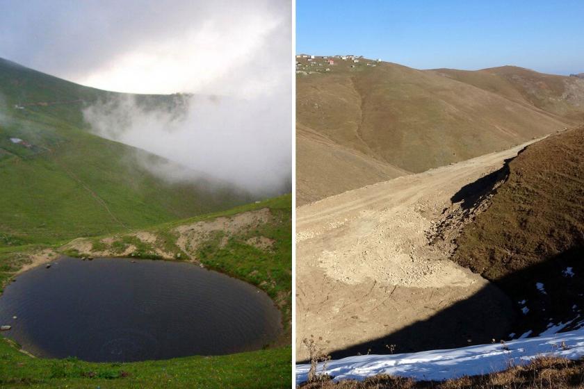 Dipsiz Göl'ün kazı yapılmadan önceki hali (solda) ve kazıdan sonrası