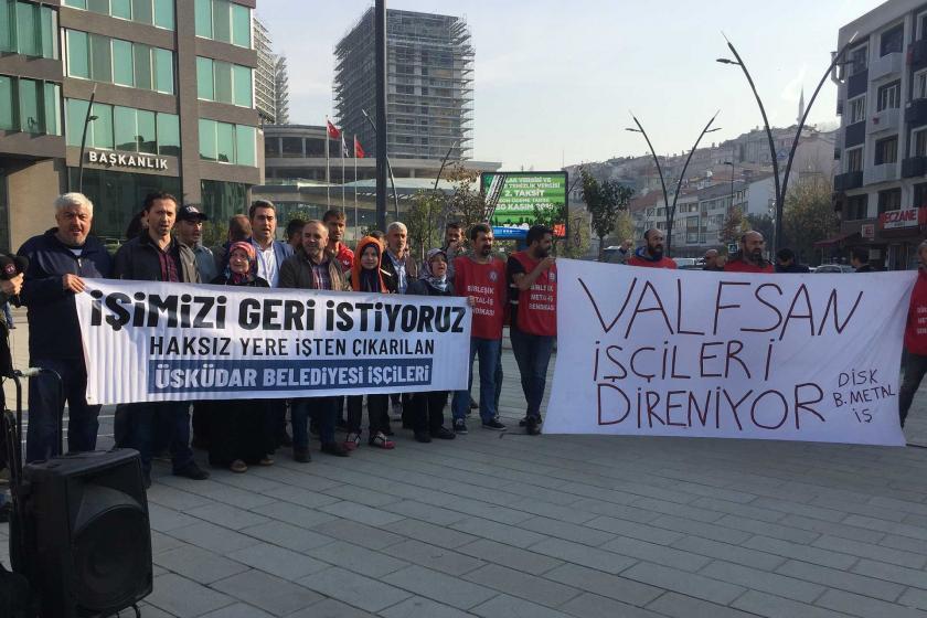 İşten atılan Üsküdar Belediyesi işçileri ile desteğe gelen Valfsan işçileri