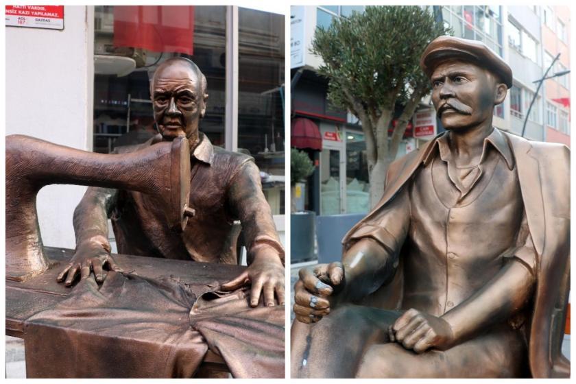 Dikiş diken terzi ve Keşanlı Ali heykeli fotoğraflarının yan yana getirilmiş kolajı