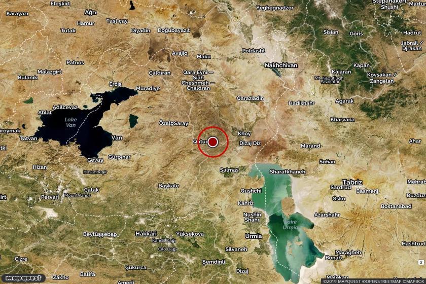 İran'da depremin yaşandığı Khoy bölgesini gösteren harita