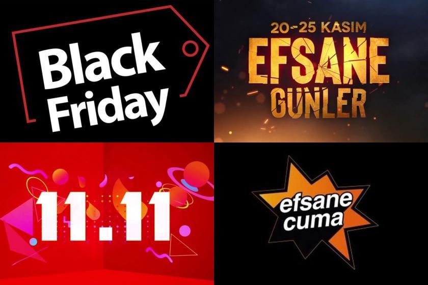 Black Friday, Efsane Günler, 11.11 ve Efsane Cuma kampanya görselleri.