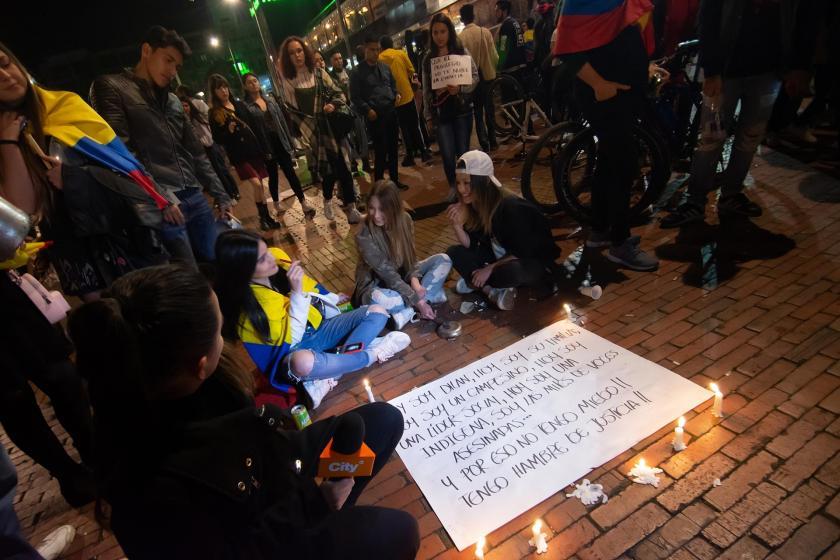 Kolombiya'da Hippie Park'ta düzenlenen protesto