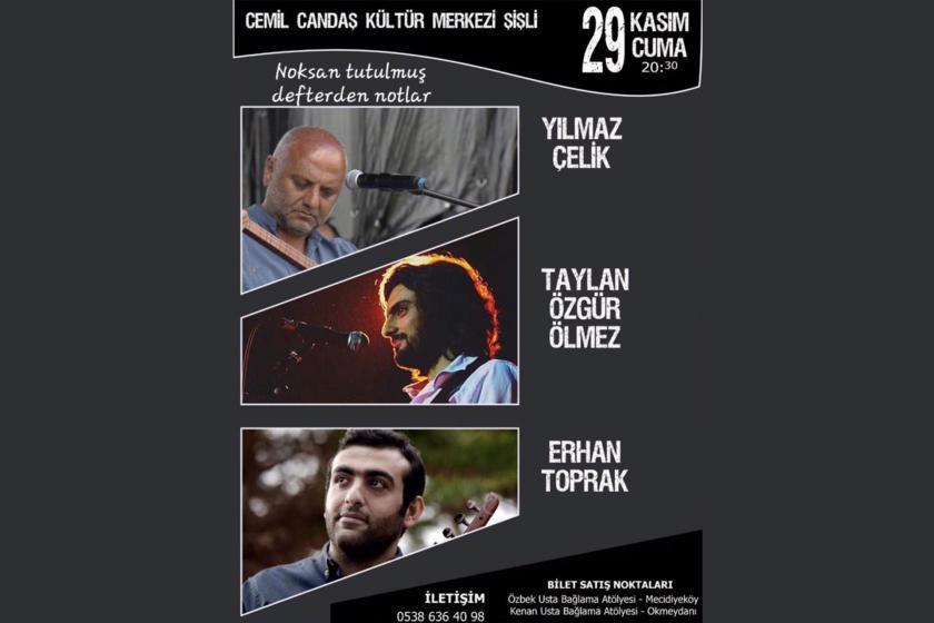 Yılmaz Çelik, Taylan Özgür Ölmez ve Erhan Toprak'ın düzenleyeceği konserin afişi.