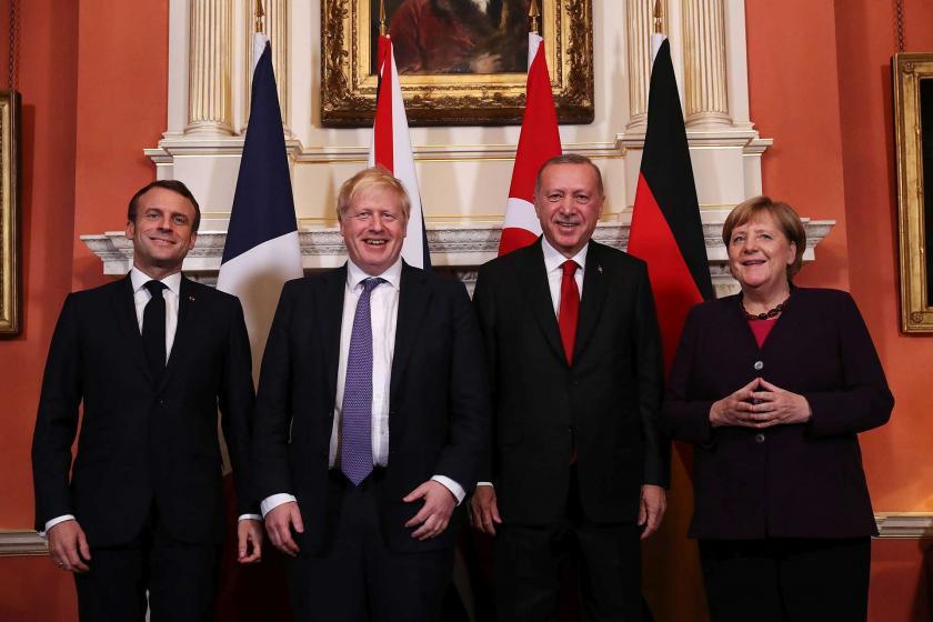 Cumhurbaşkanı Erdoğan,  Fransa Cumhurbaşkanı Emmanuel Macron, Almanya Başbakanı Angela Merkel ve İngiltere Başbakanı Boris Johnson yan yana