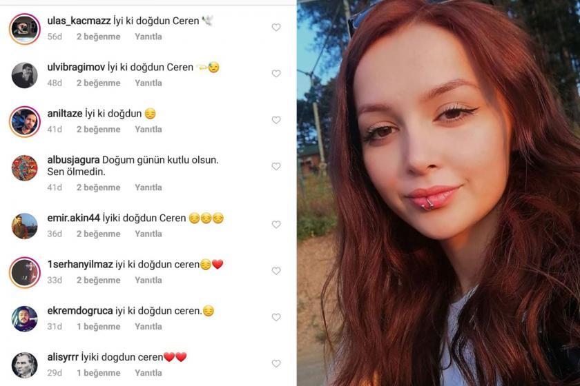 Ceren Özdemir (sağda) ve sosyal medya kullanıcılarının Özdemir'in doğum günü için attığı mesajlar (solda)
