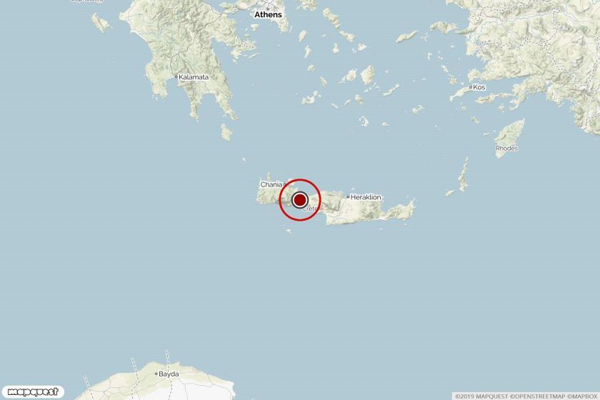Girit adasında deprem noktasını gösteren harita.