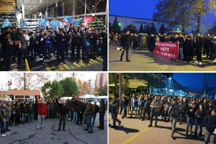 MESS dayatmalarına karşı faklı fabrikalarda eylem yapan Türk Metal ve Birleşik Metal-İş üyesi işçiler