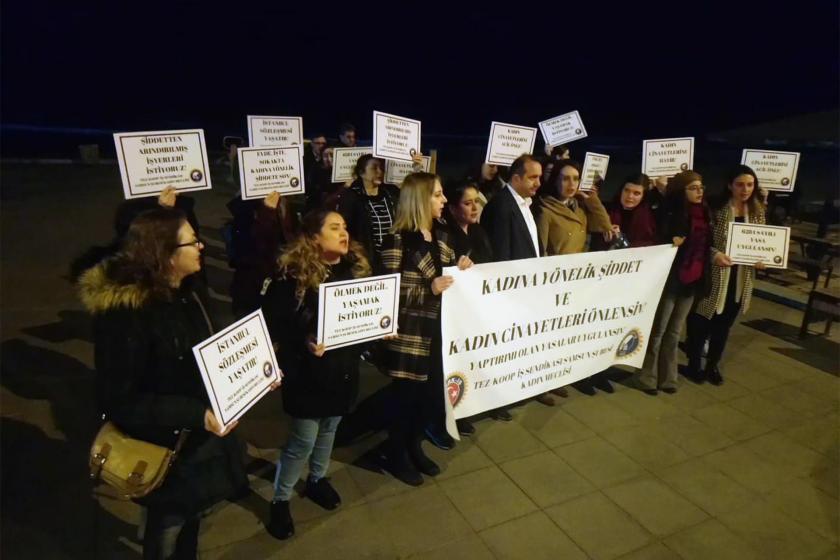 Kadın cinayetlerine karşı açıklama yapan Tez Koop-İş üyesi kadın işçiler