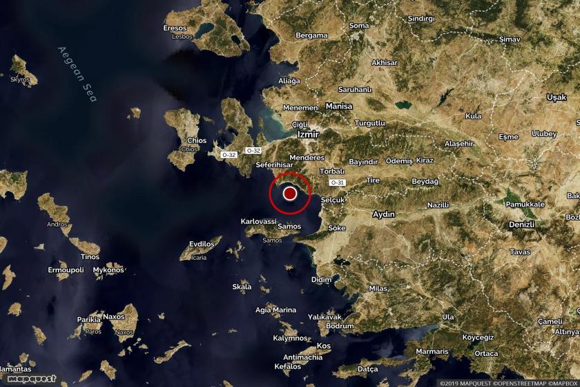 Kuşadası'nda meydana gelen depremin merkez üssünü ve çevresini gösteren harita
