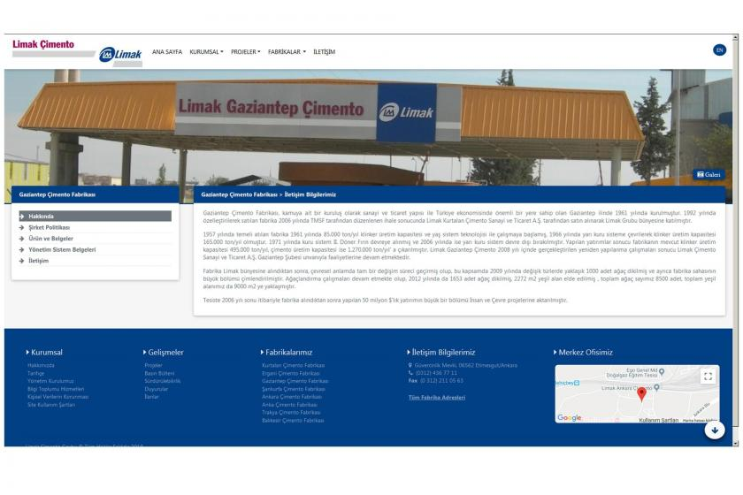 limakcimento.com sitesinin ana sayfa arayüzü