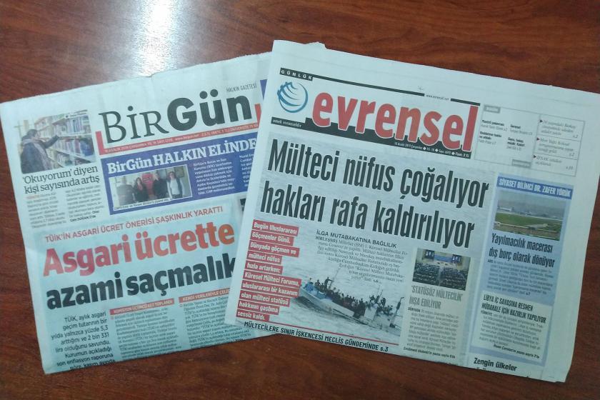 BirGün (solda) ve Evrensel gazetesi (sağda)