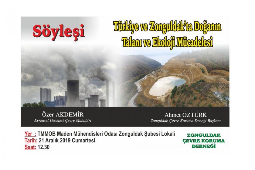 Zonguldak Çevre Koruma Derneğinin düzenlediği söyleşinin afişi